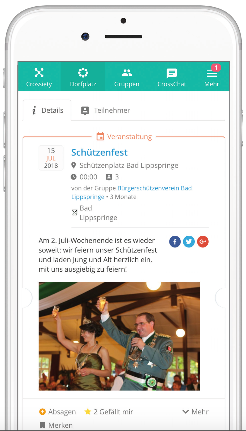 Digitaler Dorfplatz Handy Events